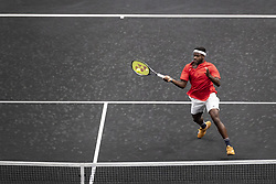 September 21, 2018 - Chicago, Illinois, U.S - FRANCES TIAFOE of the United States hits an approach shot against Grigor Dimitrov of Bulgaria during the first match on Day One of the Laver Cup at the United Center. Tiafoe lost 6-1, 6-4.  (Credit Image: © Shelley Lipton/ZUMA Wire)