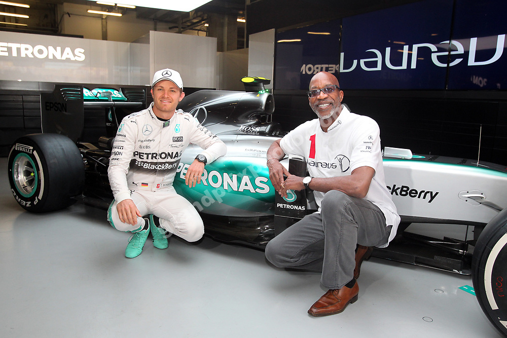 Nico Rosberg (Mercedes) and Ed Moses at the Laureus Award launch before the 2015 Chinese Grand Prix at the Shanghai International Circuit. Photo: Grand Prix Photo