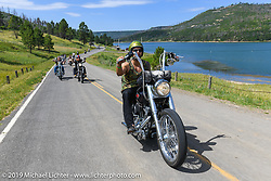 Everyone's heading to the reservoir for a dip during the Run to Raton. Raton, NM. USA. Saturday July 21, 2018. Photography ©2018 Michael Lichter.