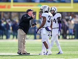 Nov 10, 2018; Morgantown, WV, USA; TCU Horned Frogs head coach Gary Patterson talks to some players during the second quarter against the West Virginia Mountaineers at Mountaineer Field at Milan Puskar Stadium. Mandatory Credit: Ben Queen-USA TODAY Sports