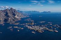 Aerial view of village of Henningsvaer, Austvågøy, Lofoten Islands, Norway