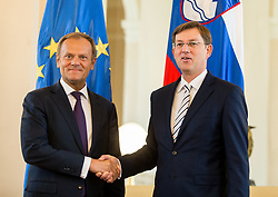 Donald Tusk, President of the European Council at meeting with Miro Cerar, prime minister of Slovenia, on April 3, 2017 in Ljubljana, Slovenia. Photo by Vid Ponikvar / Sportida