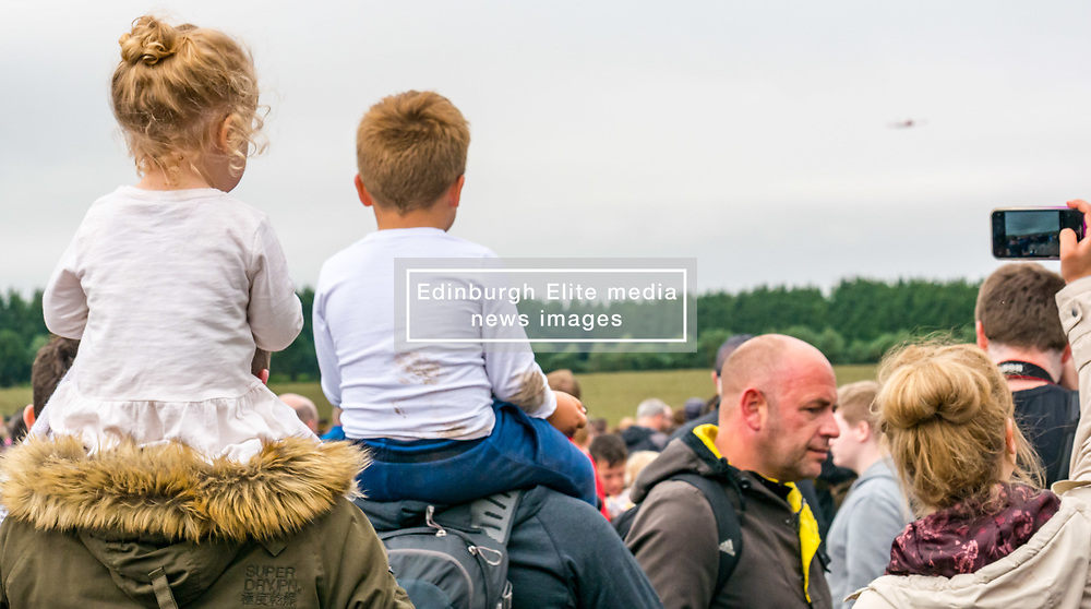 Pictured: Scotland's National Airshow, East Fortune, East Lothian, Scotland, United Kingdom, 27 July 2019 . A packed programme of aircraft old and new planned to take to the skies for the aerial display was marred by poor weather at airfields around the country which meant that many of the promised flights were unable to perform.<br /> Sally Anderson   EdinburghElitemedia.co.uk
