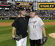 CHICAGO - JUNE 21:  Actor and Hollywood celebrity Kelsey Grammer poses for a photo with pitcher John Danks #50 of the Chicago White Sox after Grammer threw out a ceremonial first pitch prior to the game between the Chicago Cubs and Chicago White Sox on June 21, 2011 at U.S. Cellular Field in Chicago, Illinois.  (Photo by Ron Vesely)  Subject:  Kelsey Grammer;John Danks