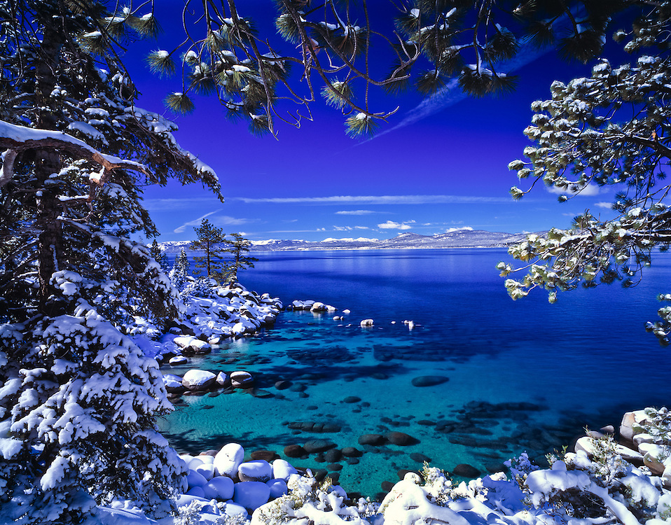 Lake Tahoe Scenic Emerald Waters Winter Frame Lake Tahoe