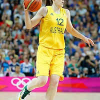 09 August 2012: Australia Belinda Snell brings the ball upcourt during 86-73 Team USA victory over Team Australia, during the women's basketball semi-finals, at the 02 Arena, in London, Great Britain.