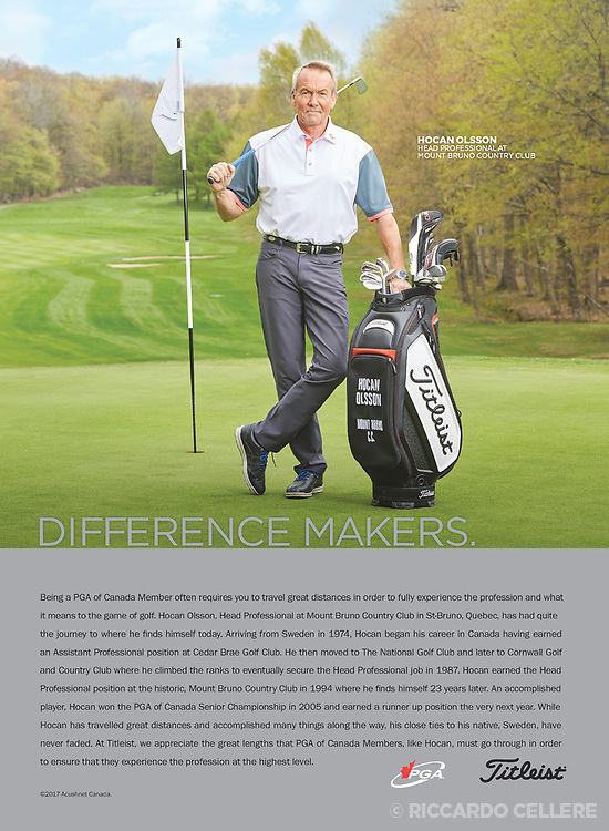 Advertising photography. Hocan Olsson, professional golfer, photographed for Titleist.