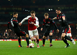 Aaron Ramsey of Arsenal takes on the AC Milan defence - Mandatory by-line: Robbie Stephenson/JMP - 15/03/2018 - FOOTBALL - Emirates Stadium - London, England - Arsenal v AC Milan - UEFA Europa League Round of 16, Second leg