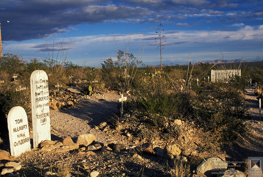Early morning finds historic Boot Hill cemetery deserted, Tombstone, Arizona, ©1989 Edward McCain, All Rights Reserved, McCain Photography 520-623-1998