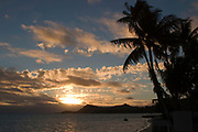 Matira Point with palm trees at sunset, Bora Bora, Society Islands, French Polynesia
