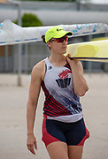 Plovdiv, Bulgaria, 9th May 2019, FISA, Rowing World Cup 1,  W2-, USA, USA4, (s) Emily HUELSKAMP, carrying boat to training outing. <br /> [© Peter SPURRIER]