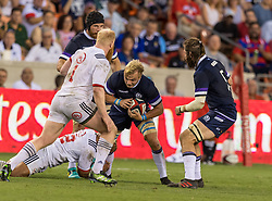 June 16, 2018 - Houston, Texas, US - Scotland Men's Rugby Team flanker Luke Hamilton (7) during the Emirates Summer Series 2018 match between USA Men's Team vs Scotland Men's Team at BBVA Compass Stadium, Houston, Texas (Credit Image: © Maria Lysaker via ZUMA Wire)