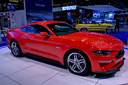 09 February 2017: 2017 Ford Mustang 5.0 <br /> <br /> First staged in 1901, the Chicago Auto Show is the largest auto show in North America and has been held more times than any other auto exposition on the continent.  It has been  presented by the Chicago Automobile Trade Association (CATA) since 1935.  It is held at McCormick Place, Chicago Illinois<br /> #CAS17<br /> <br /> This image is an HDR (High Dynamic Range) composite.