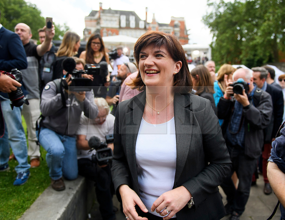 © Licensed to London News Pictures. 24/06/2016. London, UK. Secretary of State for Education NICKY MORGAN surrounded my media during an interview  in Westminster, London on the day that the UK voted to leave the EU in a referendum. Photo credit: Ben Cawthra/LNP