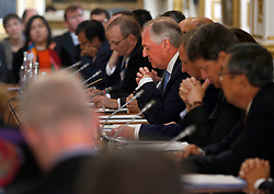Unilever CEO Paul Polman (centre), speaks as he attends a meeting with the Prince of Wales on deforestation at Lancaster House in London.