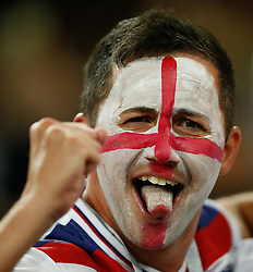 July 3, 2018 - Moscou, Rússia - MOSCOU, MO - 03.07.2018: COLOMBIA VS ENGLAND - English fan celebrates England's qualification after a penalty shoot-out in a match between Colombia and England for the eighth finals of 2018 World rld Cup finals at the Otkrytie Arena in Moscow, Russia. (Credit Image: © Marcelo Machado De Melo/Fotoarena via ZUMA Press)