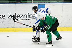 Roland Hofer of Broncos vs Anej Kujavec of SZ Olimpija during ice hockey match between HK SZ Olimpija and WSV Sterzing Broncos Weihenstephan (ITA) in Round #12 of AHL - Alps Hockey League 2018/19, on October 30, 2018, in Hala Tivoli, Ljubljana, Slovenia. Photo by Vid Ponikvar / Sportida