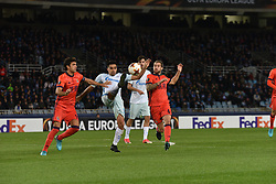 December 7, 2017 - San Sebastian, Basque Country, Spain - Christian Noboa of Zenit vies with Xabi Prieto and Inigo Martinez of Real Sociedad during the UEFA Europa League Group L football match between Real Sociedad and Zenit at the Anoeta Stadium, on 7 December 2017 in San Sebastian, Spain  (Credit Image: © Jose Ignacio Unanue/NurPhoto via ZUMA Press)