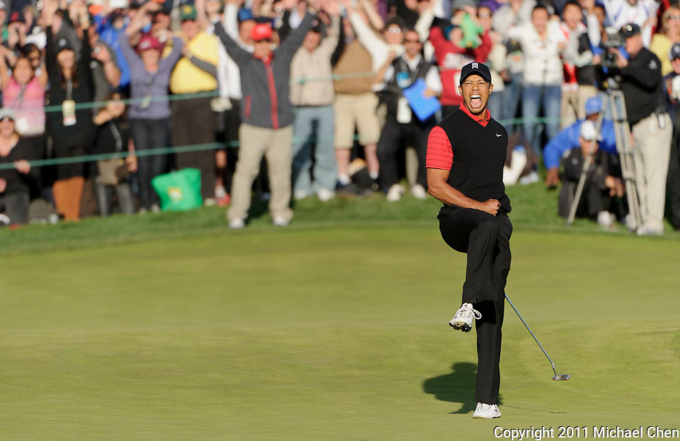 Tiger Woods celebrates his victory at the 2011 Chevron World Challenge at the Sherwood Country Club in Thousand Oaks, Calif., on Sunday, Dec. 4, 2011.  Woods snapped a two-year victory drought, edging Zach Johnson by one stroke.