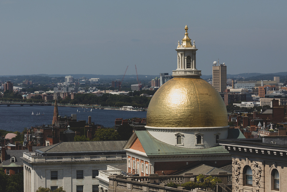 The Massachusetts State House roof seen from the roof of Suffolk Universities 73 Tremont Street building.