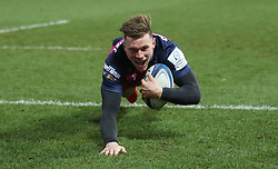 Gloucester's Jason Woodward scores their first try during the Heineken Champions Cup match at the Kingsholm Stadium, Gloucester.
