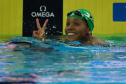 HANGZHOU, Dec. 15, 2018  Alia Atkinson of Jamaica celebrates after Women's 100m breaststroke Final at 14th FINA World Swimming Championships (25m) in Hangzhou, east China's Zhejiang Province, on Dec. 15, 2018. Alia Atkinson claimed the title with 1:03.51. (Credit Image: © Xinhua via ZUMA Wire)