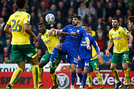 Cardiff City defender Callum Paterson (18) Norwich City midfielder Alexander Tettey (27) battles for possession during the EFL Sky Bet Championship match between Norwich City and Cardiff City at Carrow Road, Norwich, England on 14 April 2018. Picture by Phil Chaplin.