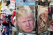A Donald Trump party mask on sale in a souvenir shop is pictured on 4th November 2020 in Windsor, United Kingdom. With the Republican Donald Trump and his Democrat rival Joe Biden both still competing in key swing states with millions of votes remaining to be counted following an extremely high electoral turnout, the US presidential election is expected to be a very close contest.