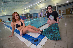 Rosalind Main and Lindsey Leeper with the mermaid tail, triying out a mermaid classes at Eastfield Leisure Centre.