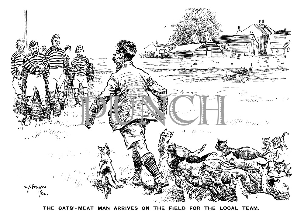 The cats'-meat man arrives on the field for the local team.