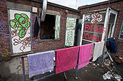 © licensed to London News Pictures. London, UK. 26/01/12.  Building's rooftop. Inside the Sun Street building occupied by protestors. Occupied bank building 'The Bank of Ideas' facing eviction after owners UBS obtained a Possession Order for the property. Photo credit: Jules Mattsson/LNP
