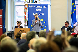© Licensed to London News Pictures. 26/01/2019. Manchester, UK. KATE GREEN MP and a cross party group of politicians and leaders at a rally at the Mechanics Institute after a demonstration by hundreds of supporters of a People's Vote on Britain's membership of the EU is held in St Peters Square . Photo credit: Joel Goodman/LNP