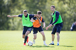 Falkirk's Taylor Morgan and Falkirk's Kevin O'Hara. Falkirk FC training at Swansea's training pitches, before next weeks Cup Final.