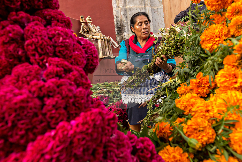 An elderly Mexican woman sells flowers used for honoring gravesides for the Day of the Dead festival known in Spanish as Día de Muertos October 31, 2013 in Oaxaca, Mexico. Mexican marigolds have been used in ceremonies since the Aztec times and is known at the flower of the dead in Mexico and the red cockscomb flower is a symbol of the blood of Christ.