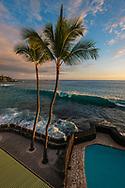 View from lanai at the Kona Magic Sands, Kailua-Kona, Big Island of Hawai'i, Hawaii