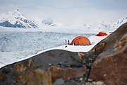 View through a notch in the bedrock of the field camp at the Columbia Glacier, near Valdez, Alaska.