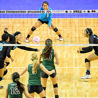 111414  Adron Gardner/Independent<br /> <br /> Navajo Prep Eagle Keona Leano (13), left, reaches for a ball during the New Mexico state volleyball finals at the Santa Ana Star Center in Rio Rancho Friday.