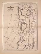Ancient 19th century map of Palestine central Ridge from the book Palestine illustrated by Sir Richard Temple, 1st Baronet, GCSI, CIE, PC, FRS (8 March 1826 – 15 March 1902) was an administrator in British India and a British politician. Published in London by W.H. Allen & Co. in 1888