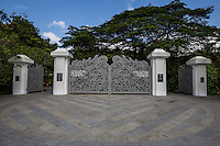 Tanglin Gate at Singapore Botanic Garden; Tanglin Gate Singapore Botanic Gardens -  After the redevelopment of the Tanglin area of Singapore Botanic Garden, this gate retained its four trademark pillars and the supporting swinging gates an exquisite entrance.  - The Singapore Botanic Gardens is a major visitor attraction boasting an array of botanical & horticultural offerings with a rich plant collection of worldwide significance. Enhancing these resources are recreational facilities, educational displays and events for visitors surrounded by nature. The garden was first set up by Stamford Raffles, who was the founder of Singapore as well as being a naturalist at Fort Canning.  The original venue closed in 1829 and moved to the present site in 1859. In 2015 the Gardens received inscription as UNESCO World Heritage Site.