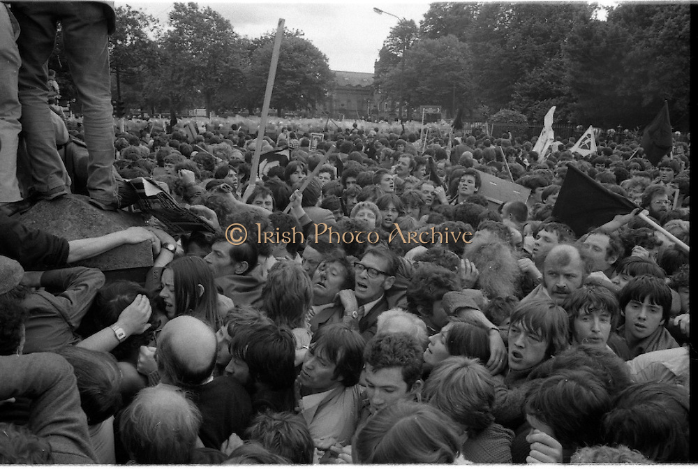H-Block Protest To British Embassy.  (N86)..1981..18.07.1981..07.18.1981..18th July 1981..A protest march to demonstrate against the H-Blocks in Northern Ireland was held today in Dublin. After the death of several hunger strikers in the H-Blocks feelings were running very high. The protest march was to proceed to the British Embassy in Ballsbridge...Image shows the crowd, some bloodied and bruised,try to escape the crush as panic starts to take hold.