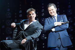 "© Licensed to London News Pictures. 21 March 2014. London, England. Photocall for the Simon Cowell X-Factor Musical ""I Can't Sing!"" written by Harry Hill and Steve Brown at the London Palladium. Directed by Sean Foley with Nigel Harman as Simon, Victoria Elliott as Jordy and Ashley Knight as Louis. Photo credit: Bettina Strenske/LNP"