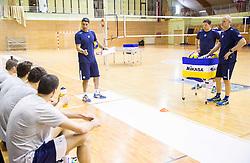 Coach Andrea Giani, Samo Miklavc and Matteo De Cecco during training camp of Slovenian Volleyball Men Team 1 month before FIVB Volleyball World League tournament in Ljubljana, on May 5, 2016 in Arena Vitranc, Kranjska Gora, Slovenia. Photo by Vid Ponikvar / Sportida