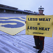 Greenpeace Denmark target a pig factory to protest against the environmental impact pig farming has. Denmark producess millions of pigs every year, many for export. Lots of the animal feed is imported from Central - South America. Some factories house up to 10000 pigs and the local environment and communities are heavily impacted by smell and noise. And the animals live under factory style conditiones. Denmark