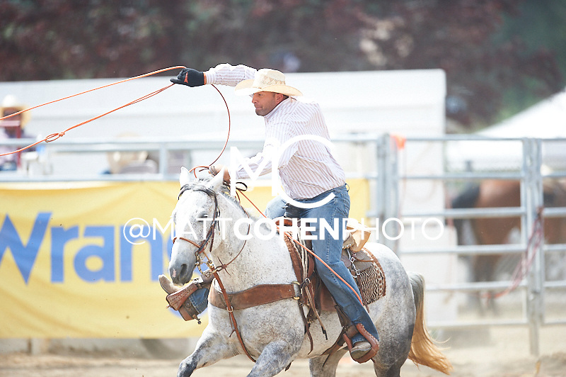 Team roper Jordan Wright of Madera, CA competes at the Redding Rodeo in Redding, CA<br /> <br /> <br /> UNEDITED LOW-RES PREVIEW<br /> <br /> <br /> File shown may be an unedited low resolution version used as a proof only. All prints are 100% guaranteed for quality. Sizes 8x10+ come with a version for personal social media. I am currently not selling downloads for commercial/brand use.