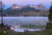 Litttle Redfish Lake, SNRA, Idaho - Mt. Heyburn reflections in early morning twilight