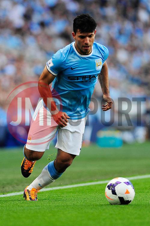 Manchester City's Sergio Aguero - Photo mandatory by-line: Dougie Allward/JMP - Tel: Mobile: 07966 386802 22/09/2013 - SPORT - FOOTBALL - City of Manchester Stadium - Manchester - Manchester City V Manchester United - Barclays Premier League