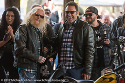 Trailer Trash Choppers' Marcus Orabona and Shaun Ponce after Marcus got an award at the Cycle Source bike show at the Broken Spoke Saloon during Daytona Beach Bike Week. FL. USA. Tuesday, March 14, 2017. Photography ©2017 Michael Lichter.