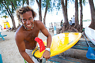 Brian Talma, surfer and all-around water man, at home on the south coast of Barbados at Enterprise Beach, Oistins, Barbados