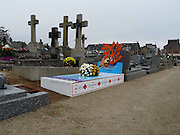 Funny Headstones <br /> <br /> A French company has created dozens of vibrant iron gravestones with custom-made images emblazoned across them in a bid to add some colour and individuality to the country's graveyards. <br /> Funeral Concept began producing the unusual gravestones in September 2012 and have since created about 100 unique designs<br /> Funeral Concept have created about 100 unique designs since 2012. Creations include a message reading 'Thanks for not peeing on my grave'.<br /> ©Exclsuivepix