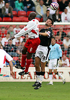 Photo: Mark Stephenson.<br /> Walsall v Port Vale. Coca Cola League 1. 08/09/2007.Port Vale's Marc` Richards (R) gets the better of Walsall's Paul Hall